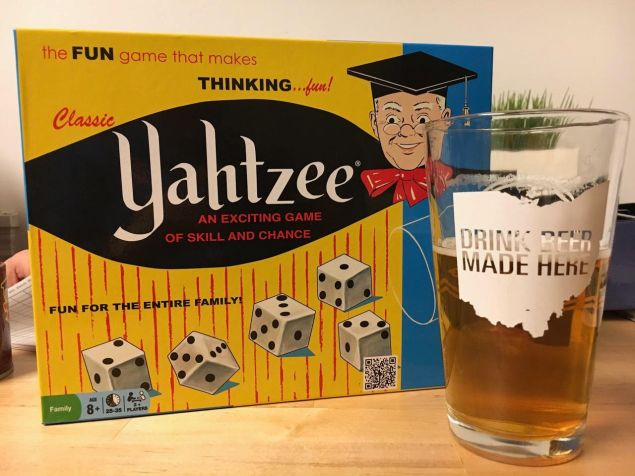 Yahtzee (King Arthur's purchase) and Rhinegeist Roar for game night