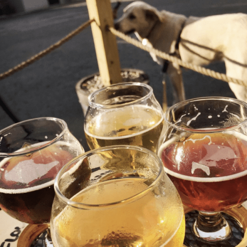 Flight of beer on the patio with Franklin at Blank Slate