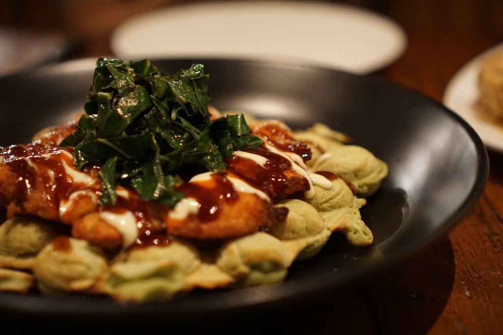 Katsu Chicken on Hong Kong Waffle