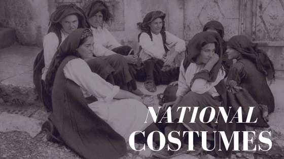 Villagers in national costumes from the Travnik area in Bosnia (1920-s).