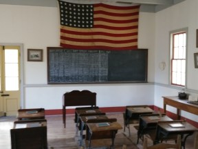 A schoolroom in the old Lousiana village