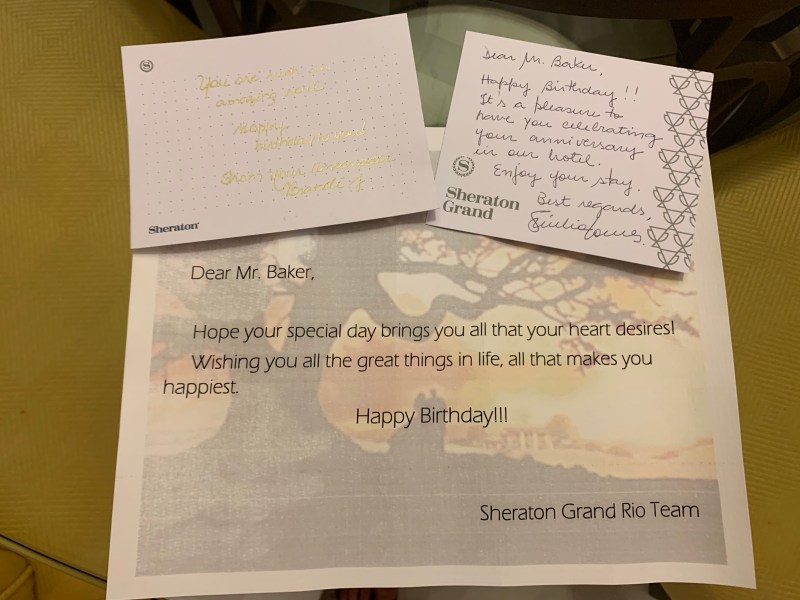 Birthday Wishes From there Staff of Sheraton Grand Rio