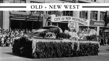 ca. 1950: May Day - May Queen suite on a decorated float. Photo courtesy of the New Westminster archives.