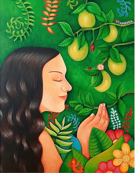 Painting of girl smelling plants