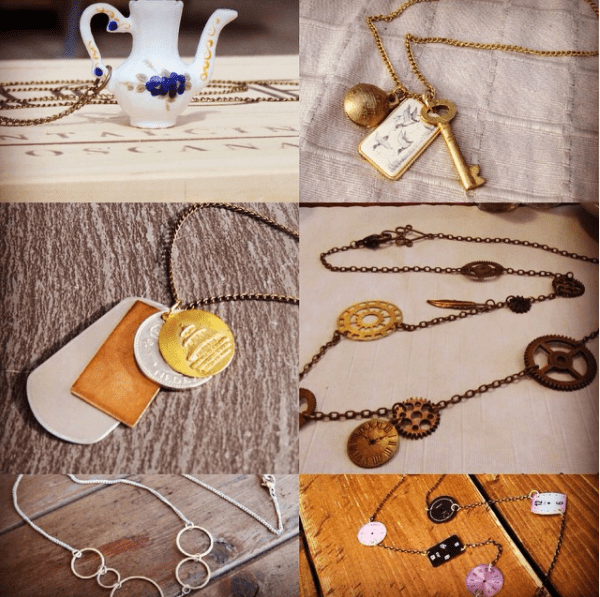 Necklaces made of keys, gears and miniature teapots