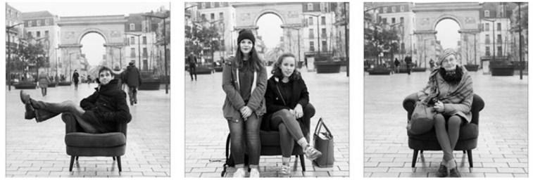 Les anonymes posent dans le Fauteuil Graphe de QuanT Photography à Dijon, extrait compte Instagram @quentphotography Place Darcy