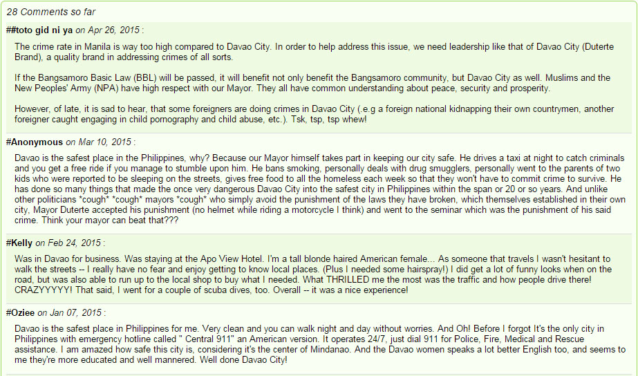 Davao City Safest City in the Philippines Comments
