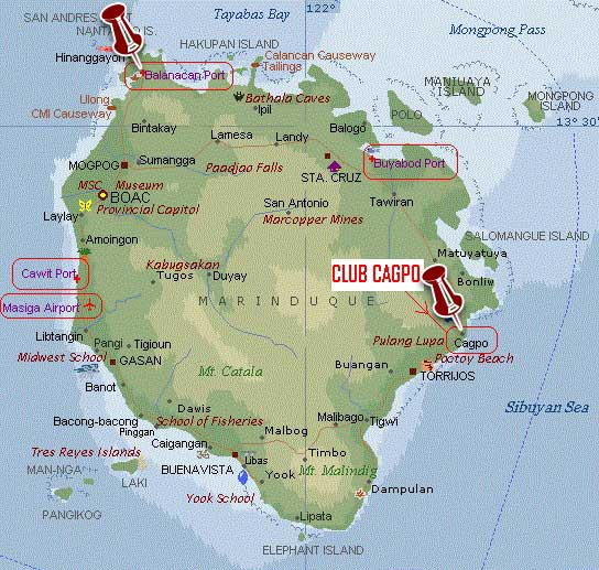 Beach Club Cagpo Marinduque Map