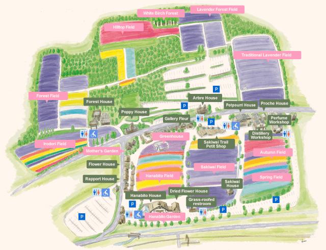 Peta dari Tomita Farm Hokkaido Jepang
