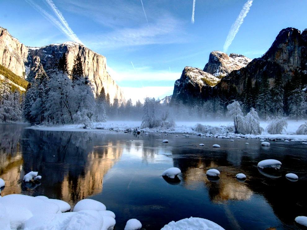 отражение в воде, йосемити