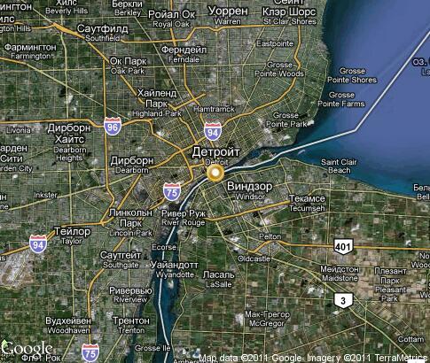 Detroit video popular tourist places Satellite map