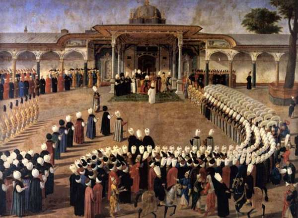Sultan Selim III holding an audience in front of the Gate of Felicity