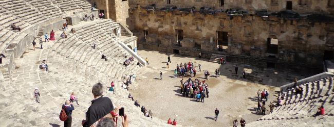 Tourists in Aspendos Theater