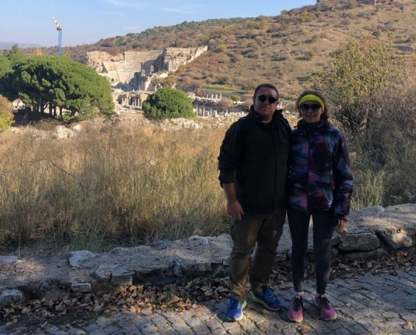 Hasan and Valeriya Gulday on the way to the Grotto of Apostle Paul in Ephesus