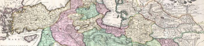 Old Map of the world showing the area between Anatolia and Central Asia
