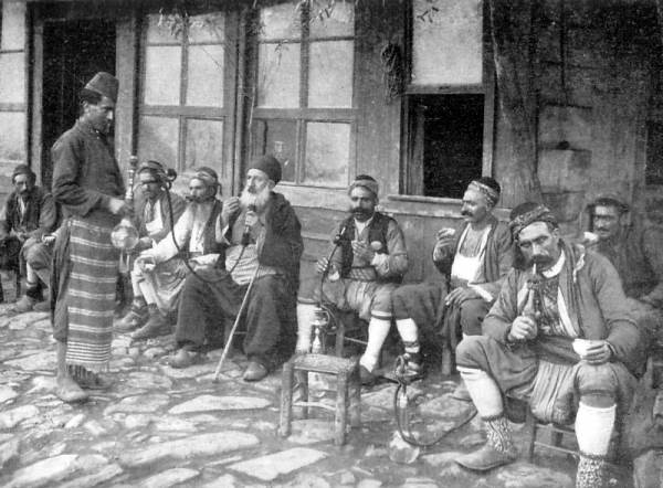 A Hookah café in Istanbul on the beginning of the 20th century