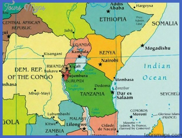 Map of eastern Africa showing Rwanda, Congo and Kenya