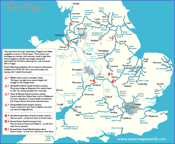 Uk Canal Network Map Pdf - ToursMaps.com