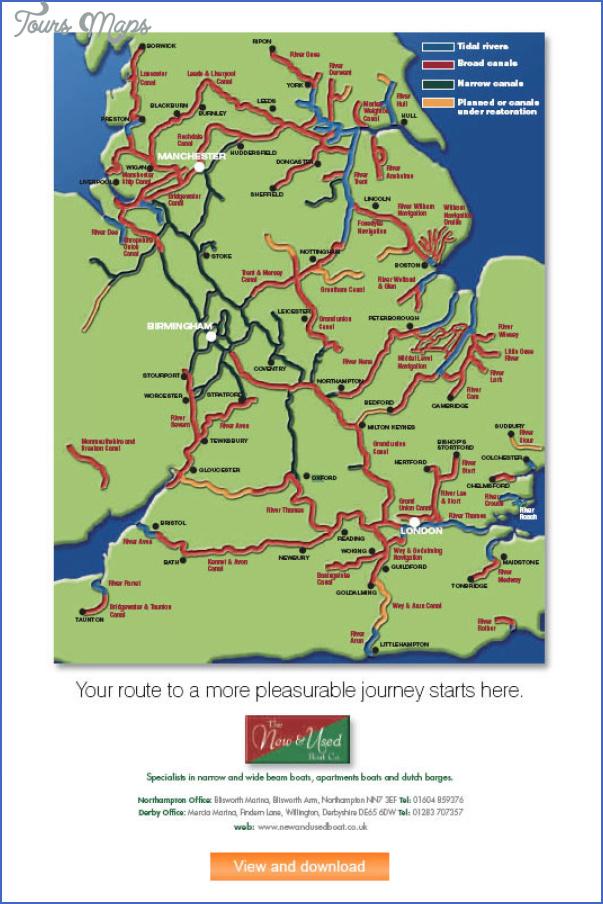 Uk Canal Network Map - ToursMaps.com