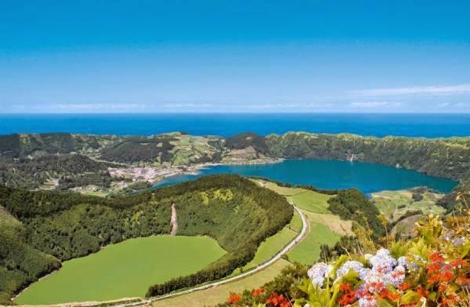 Flying over Sete Cidades hikers and lakes view sao miguel azores