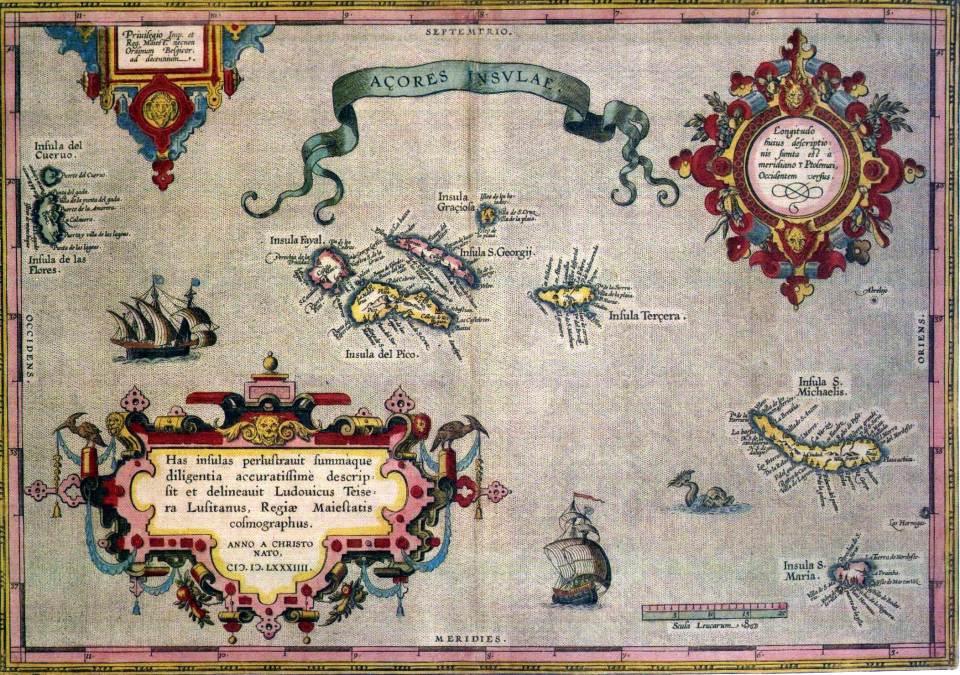 Old Azores Map Atlantic Islands Magic Island