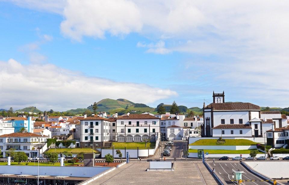 ponta delgada marina and city shopping area sao miguel