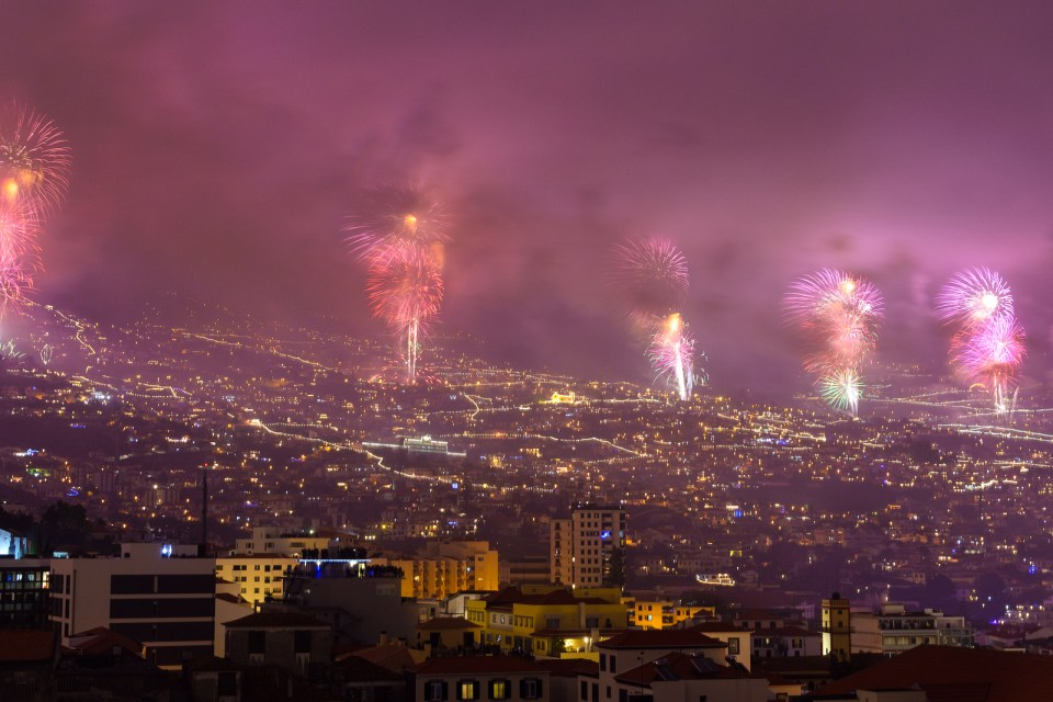 Magnificent New Year fireworks in Funchal Madeira Island Portugal.