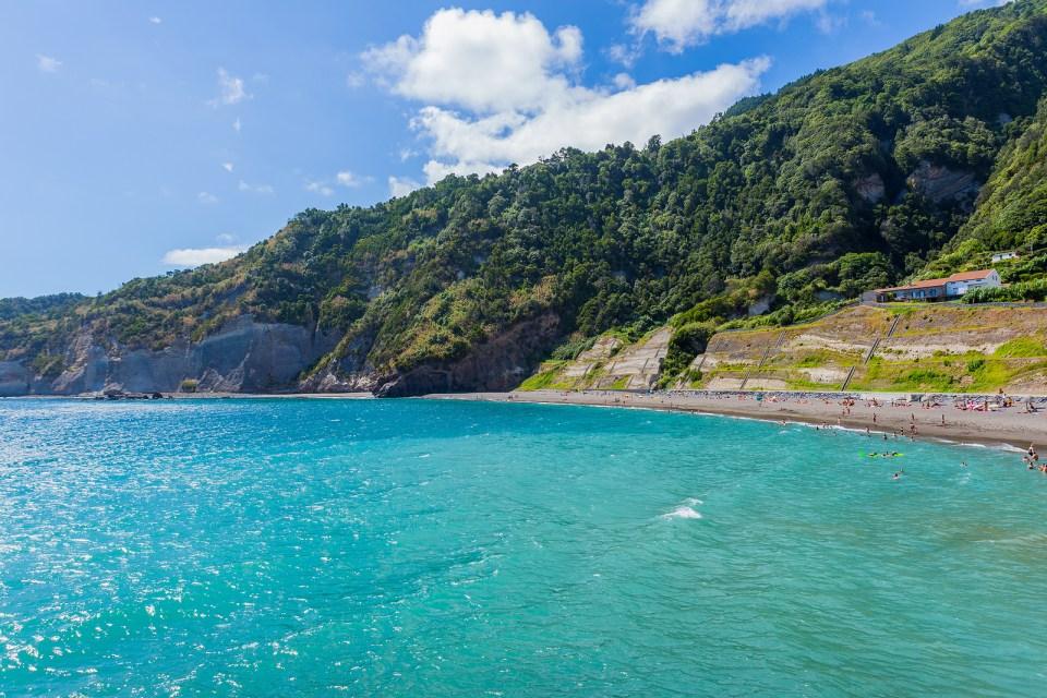 Ribeira Quente Azores Beach Landslide Family View
