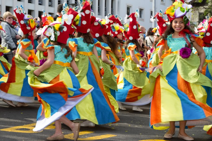 FUNCHAL MADEIRA - APRIL 20 2015: Children dancing in the Madeira