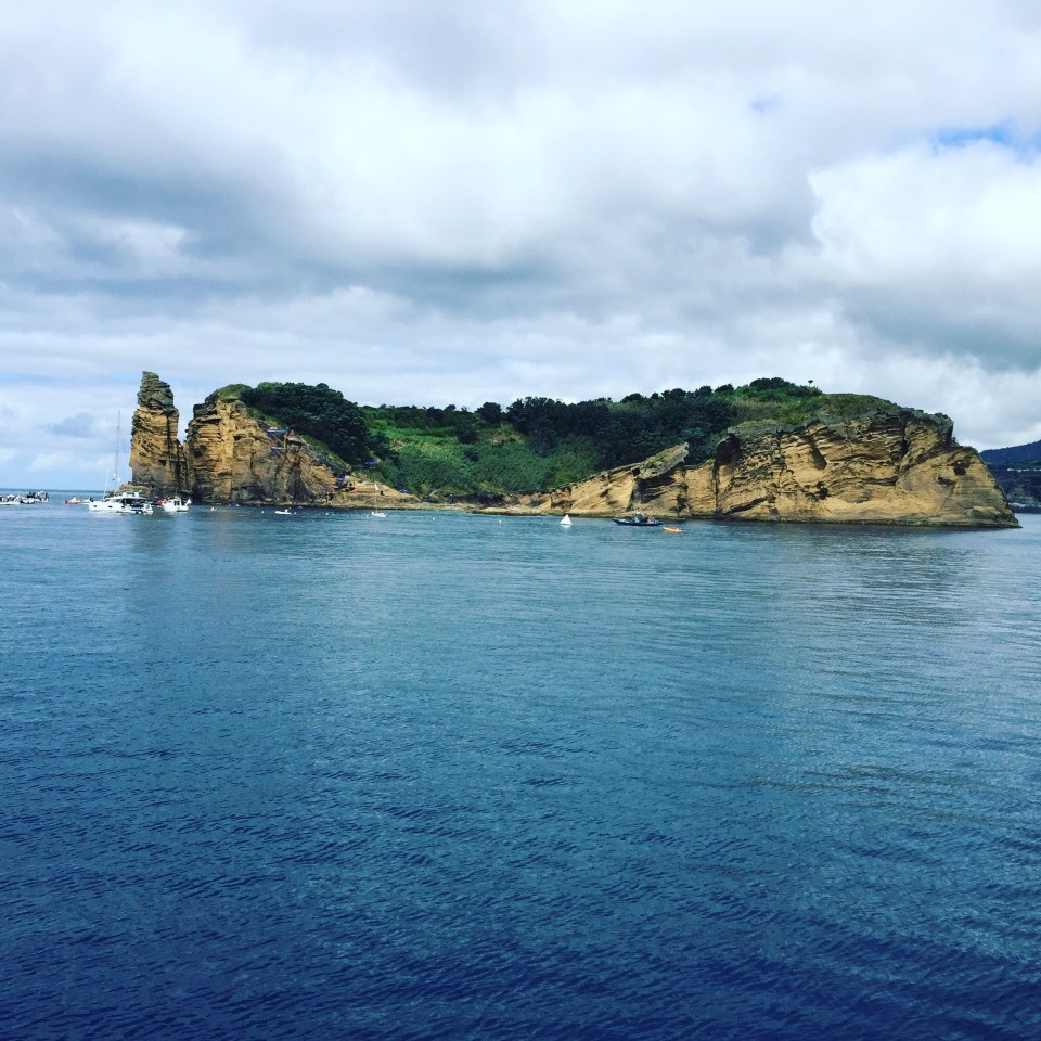 cliff diving in the Azores at Villa Franca island in Sao Miguel
