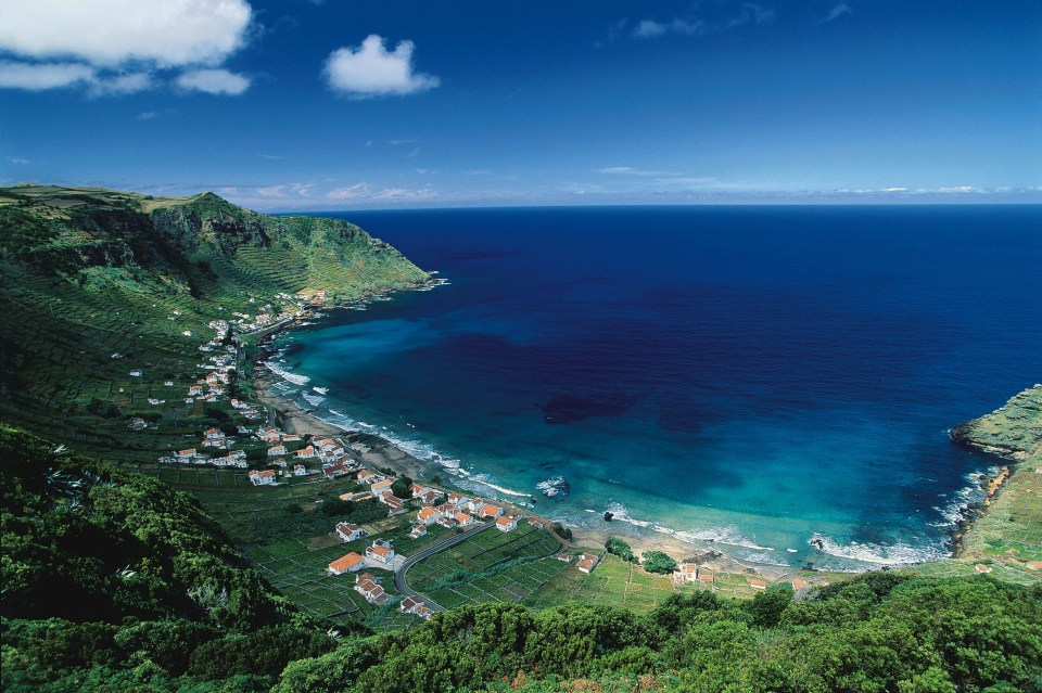 santa maria island azores portugal atlantic beach and city view praia