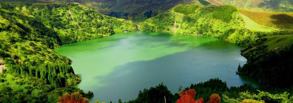 Azores Flores Island Lake with green forest and lush trees