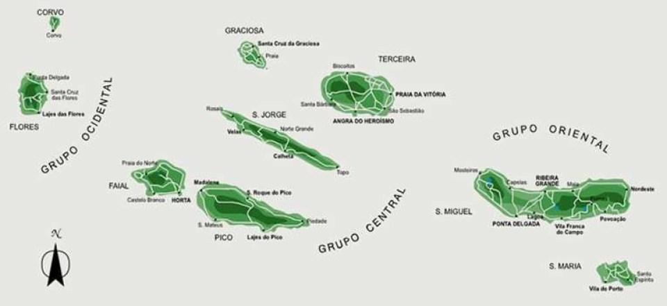 azores map islands atlantic