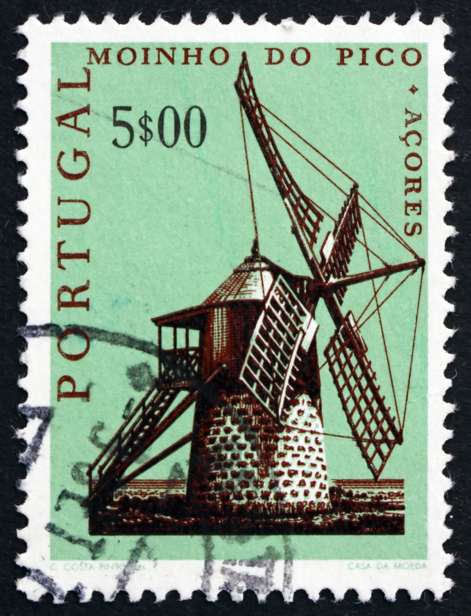 azores stamp windmills portugal
