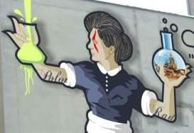 M. Curie graffiti in Warsaw