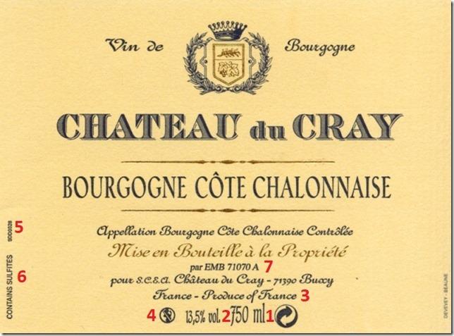 Exemple d'étiquette d'un vin de Bourgogne