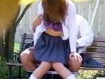【JK青姦盗撮動画】紫の下着を着けたビッチ女子校生が白昼から人気少ない公園で野外セックスしてる件…