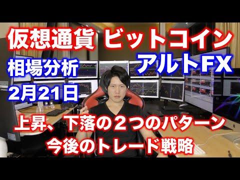 【仮想通貨】ビットコイン、アルトFX、2月21日相場分析。