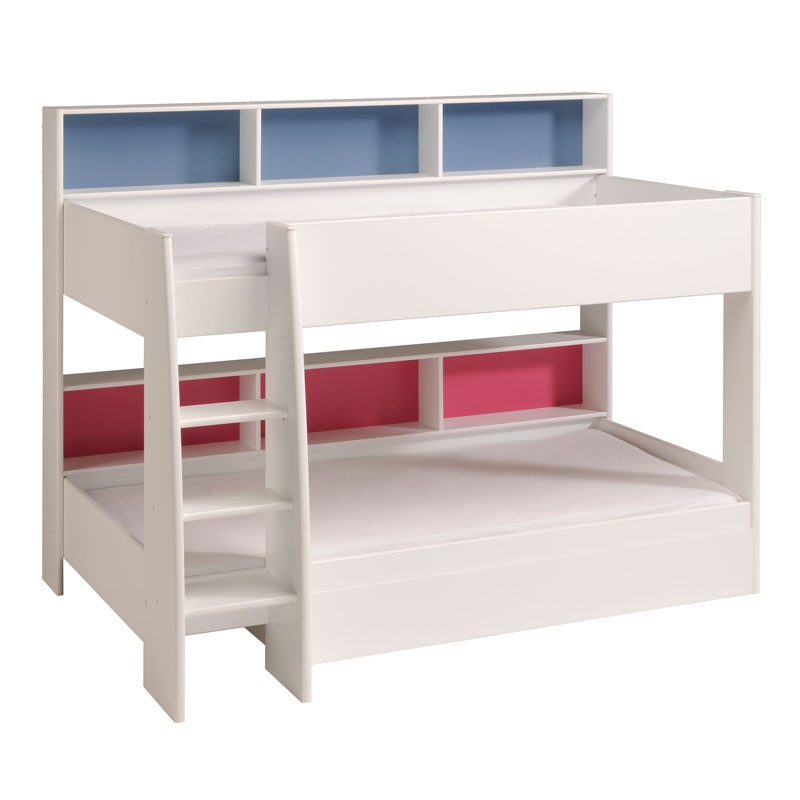 Lit Superpos Enfant Bois Blanc Niches Colores FUNNY