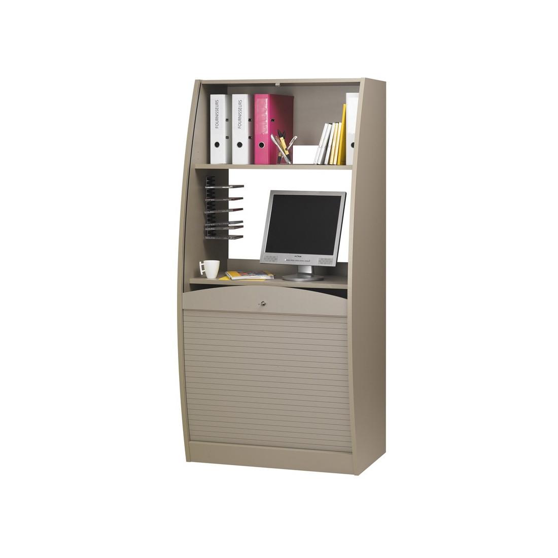 bureau secretaire informatique a rideau bois taupe univers bureau tousmesmeubles