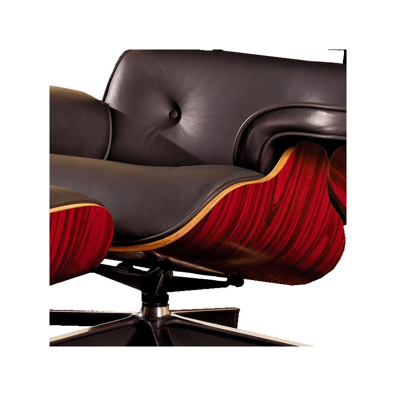 Fauteuil Cuir NoirBois Style Charles Eames EVANS
