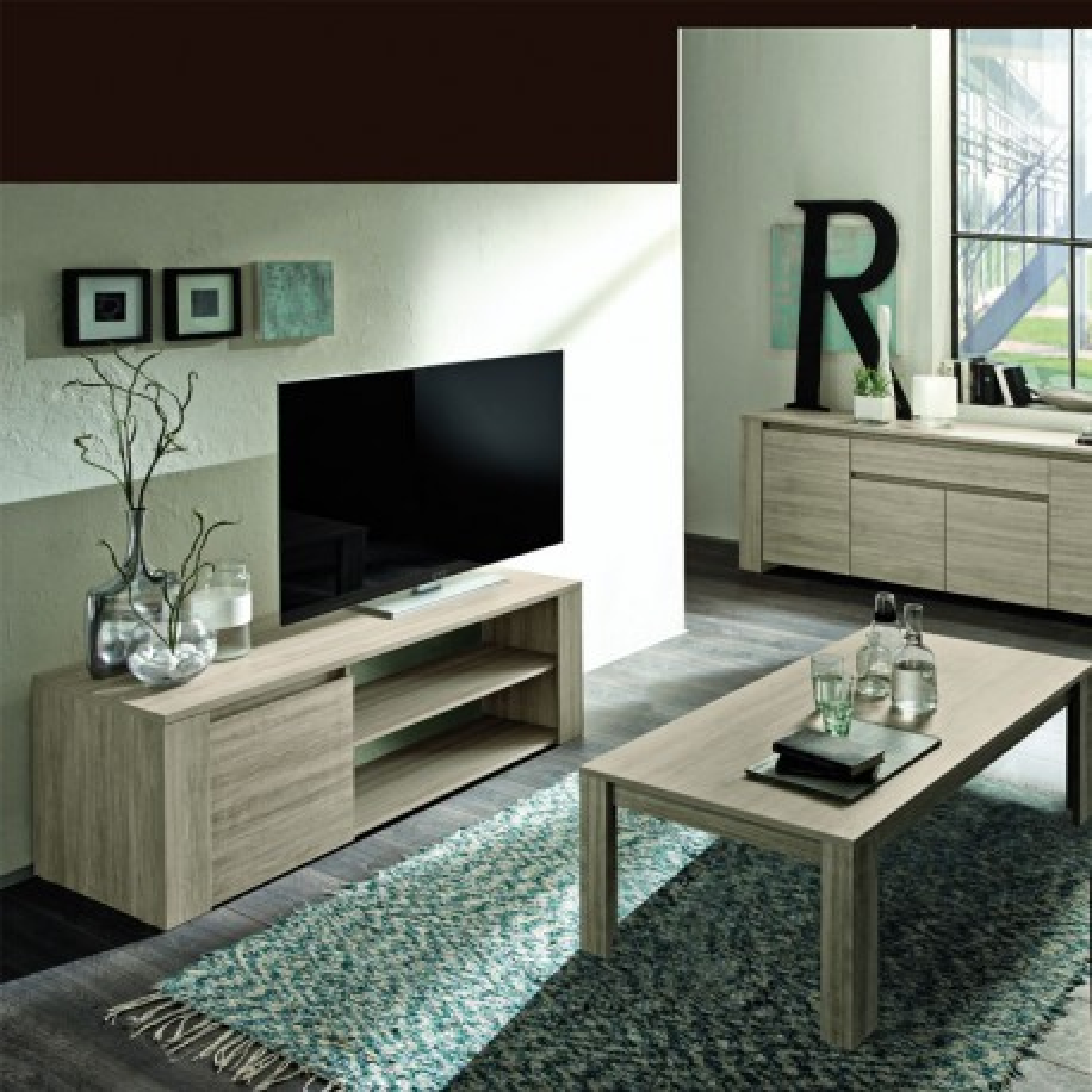 Meuble Tv Moderne 1 Porte Chene Gris Ardesia Univers Du Salon