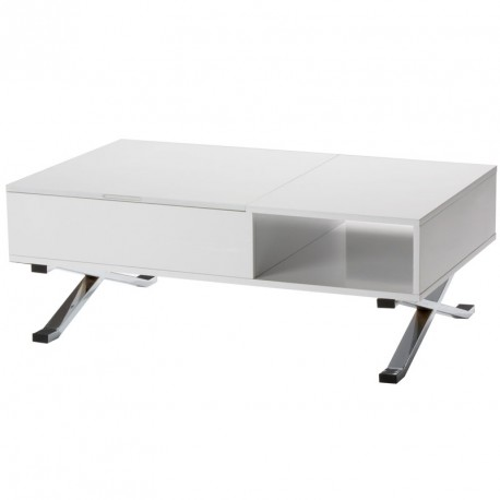 table basse blanche laquee relevable rex