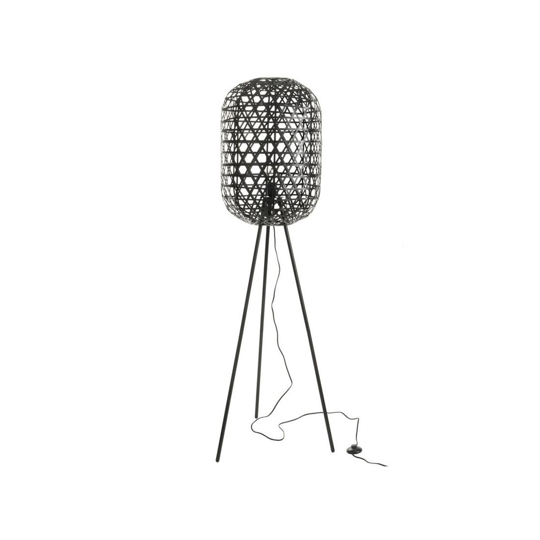 Lampadaire Bambou Metal Noir Bertha Univers De La Decoration