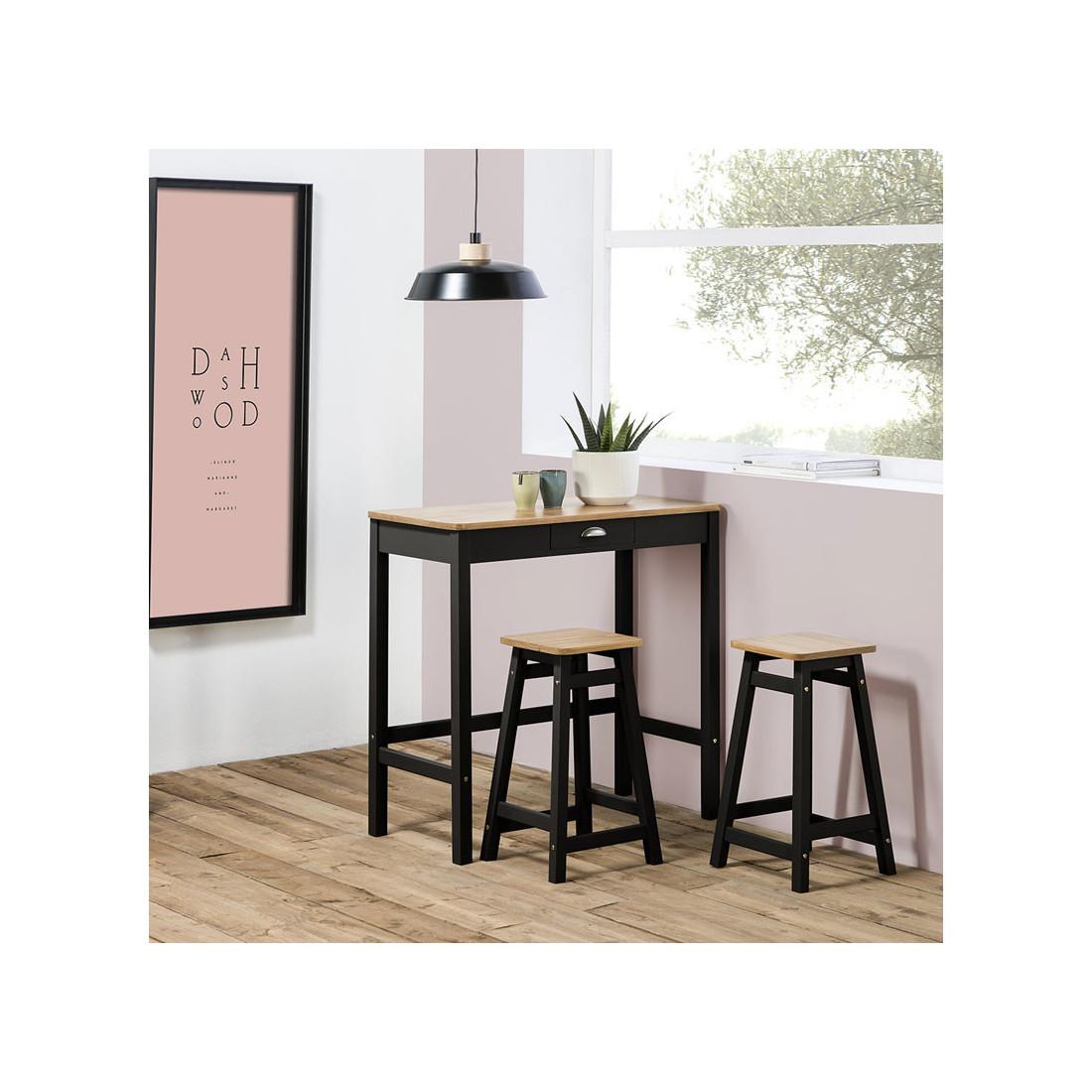 table haute 2 tabourets noir bois