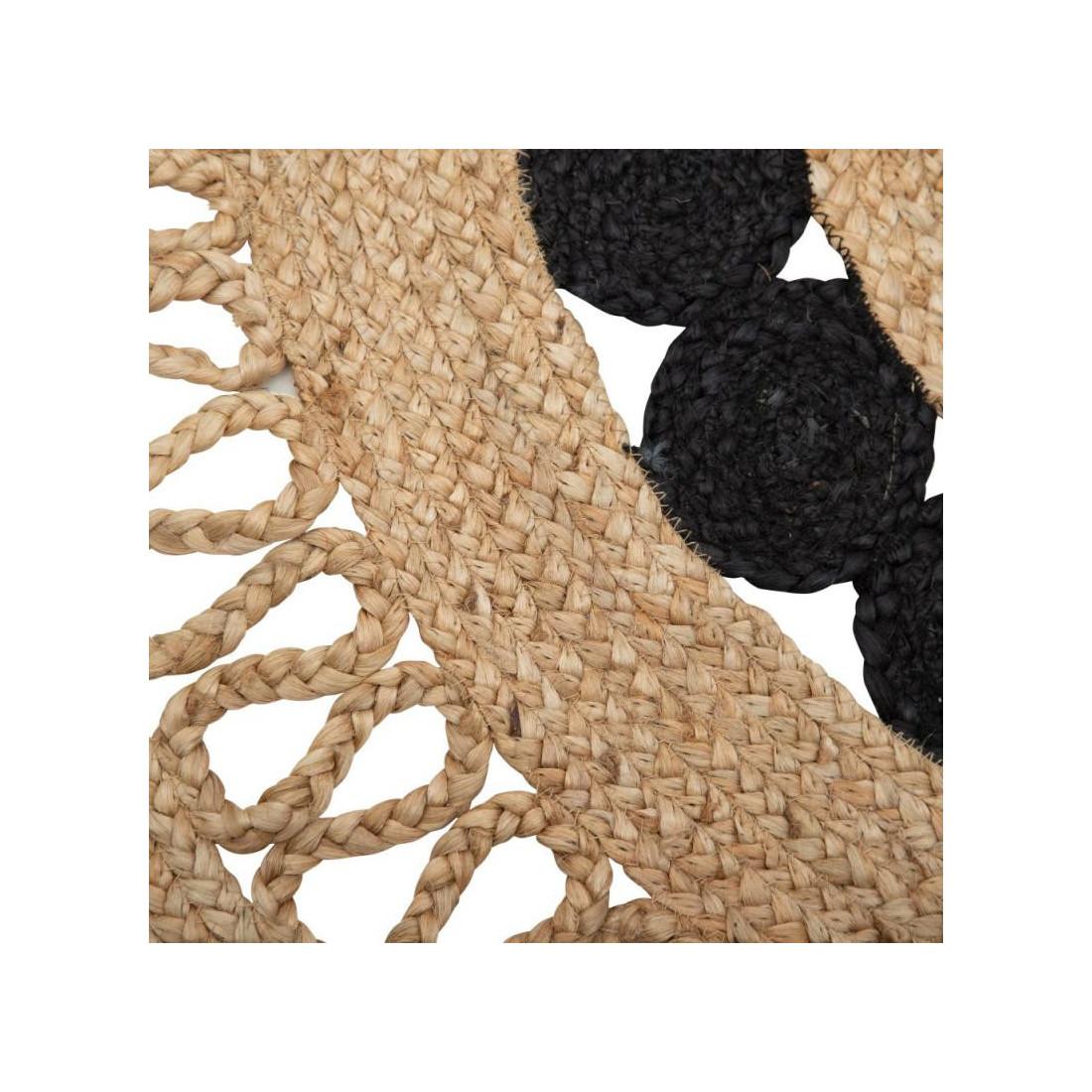 tapis rond ajoute jute naturel noir 120
