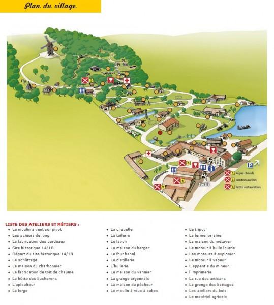 Plan du village des vieux métiers
