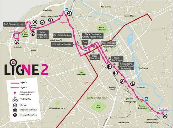 Plan de la ligne 2  Nancy  TOUT METZ