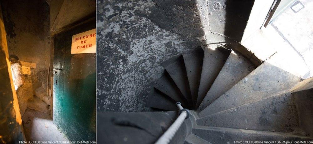Nous sommes à l'intérieur de la tourelle. Son accès est interdit au public depuis de nombreuses années pour des raisons de sécurité. Seuls les personnels habilités de l'armée peuvent y entrer sous réserve d'une autorisation spéciale. Pour Tout-Metz, une photographe du SIRPA a gravi les 138 marches menant au sommet. Photo : Sabrina Vincent (SIRPA), avril 2015