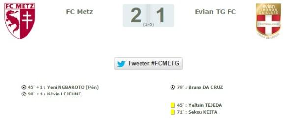 Le résumé du Match FC Metz / Evian TG FC de ce 29 août 2015. Source : lfp.fr